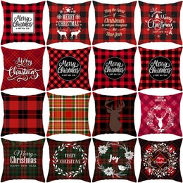 Singoli divani online-Natale Stripe cuscini Single-sided digitale stampato Peach Skin federa Xmas Divano tiro cuscino della cassa del regalo di natale Home Decor