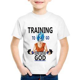 Anime ropa chicos online-Anime Dragon Ball Imprimir Entrenamiento para ir Super Saiyan Niños camisetas Niños Verano Goku Camisetas Niños / Niñas Tops Ropa de bebé, HKP5099