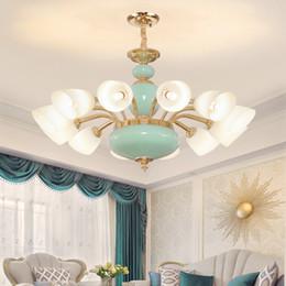 luces colgantes de ceramica Rebajas Lámpara colgante de cerámica dorada moderna Luz LED Luces colgantes S-Gold americanas Lámparas colgantes Pasillo del hotel Sala de estar Iluminación interior del hogar