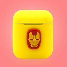Araña de teléfono celular online-Funda de silicona de dibujos animados para Apple Airpods Marvel Avengers Spider Captain Iron Funda protectora suave y suave para Air Pods Funda para teléfono Airpod