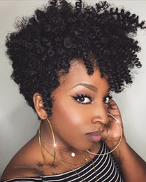 Africane ricci di parrucche online-Parrucche di capelli umani anteriori in pizzo riccio crespo afro 10cm con frangia parrucca di capelli umani in pizzo brasiliano con frangia riccia per donne nere