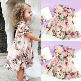 crianças verão queda verão vestuário Desconto Chiffon Criança Criança Bebê Menina Princesa Flores Partido Tutu Vestido De Tule Roupas EUA