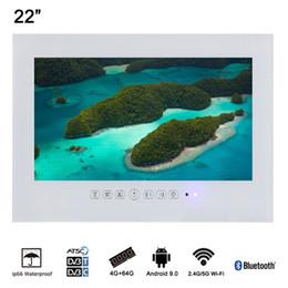 2019 taux tvs 22 pouces blanc HD Android salle de bains intelligente sans fil LED TV étanche pour SPA IP66 Salon Téléviseur taux tvs pas cher