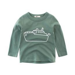 Jaqueta longa dos meninos coreanos on-line-Nova manga comprida T-shirt para os meninos, jaqueta de algodão puro bebê para meninas, versão coreana de outono desgaste infantil, underdress simples