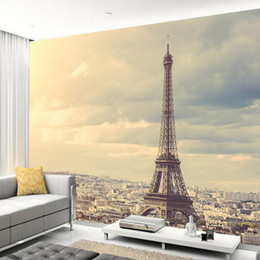обои солнце Скидка Papel de pared Eiffel Tower under the sun city building 3d wallpaper mural,living room TV wall bedroom wall papers home decor