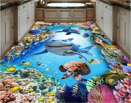 photo sticker wall Coupons - 3d pvc flooring custom photo Waterproof floor wall sticker Blue ocean dolphin shark coral home decor living room wallpaper for walls 3 d