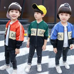 meninos uniformes de beisebol Desconto 2019 Meninos Outono jaqueta crianças letra impressa casual outwear crianças patchwork cor uniforme de beisebol manga longa moda menino roupas F8877