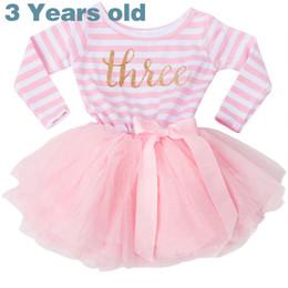 Vestido de cumpleaños para niña de 3 años 2019 Vestido de niño de manga larga para bebés Battesimo Pink Princess Vestidos para niña Vestidos de fiesta de bola a rayas XF54 desde fabricantes