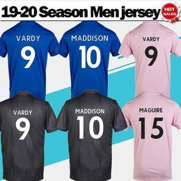 Wholesale 2019 Ville VARDY Domicile bleu Extérieur rose gris maillots de foot maillots de football MADDISON Uniformes de football En solde Envoi en drop shipping