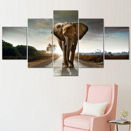 Modulaire Toile Peintures Décor À La Maison HD Prints Abstrait Animal Photos 5 Pièce Éléphant D'Afrique Affiche Salon Mur Art Cadre ? partir de fabricateur