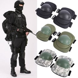 Ginocchio e gomiti regolabili Pads 4pcs un set Tactical Military Paintball Skate Airsoft Combat Set protettivo in ginocchio # 515454 da