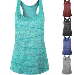 Chaleco para correr online-Las mujeres de secado rápido tanques de yoga 5 colores sin mangas de fitness deporte correr chaleco tops gym clothing oOA6496