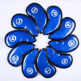 ferrules di legno Sconti Copricapo da golf in cristallo PU per ferri da stiro Copri ferri da golf di alta qualità di colore blu