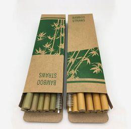 Paglie naturali online-Naturale di bambù diritte Cannucce con spazzola di pulizia Straws riutilizzabile Bere Bere Tool Set per 12pcs Bar festa di compleanno / set