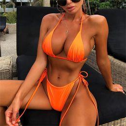 Biquíni de banho de laranja on-line-Sexy tanga bikini set swimsuit brasileiro mulheres mini neon swimwear verde preto feminino orange bikini biquíni praia maiô