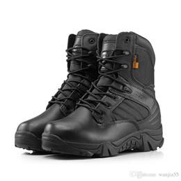 Scarpe tattico Stivali punta rotonda Deserto Uomini di combattimento stivali di pelle esterna Mens Army Stivaletti Tactical Gear Sport da
