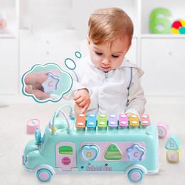2019 bater brinquedos de madeira 8 pçs / set multifuncional cedo educacional carro toys bebê aprendizagem música 5 em 1 blocos de plástico de ônibus contas redondas crianças presente de aniversário