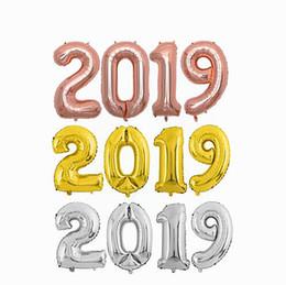 16 32 40inch 2019 numero palloncino blu nero oro silve numero stagnola palloncini Baby Shower buon compleanno festa palloncini nuziali da