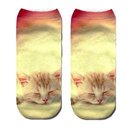 Gatti divertenti del fumetto online-Calzini corti di modo della biancheria intima delle donne di autunno stampate gatto animale 3D divertenti calzini casuali svegli per le donne