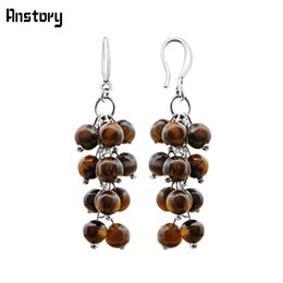 Tiger augen ohrringe online-Ohrringe für Cluster Natural Tigers Eye Stein Ohrringe für Frauen Vintage Handmade Antique Silver Plated Fashion Jewelry
