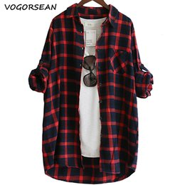 green plaid women s shirt Promo Codes - VogorSean Cotton Women Blouse Shirt Plaid 2019 Loose Casual Plaid Long sleeve Large size Top Womens Blouses red green