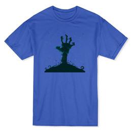 T-shirt da uomo di Zombie, color oro, blu scuro, per uomo da