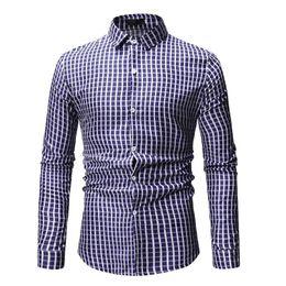rotes kariertes menskleidhemd Rabatt Casual Mens Dress Shirts Plaid Herrenhemd Langarm Bluse Männer Kleidung Lapels Mode Rot Blau