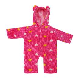 Argentina Traje de muñeca de bebé de 18 pulgadas - Rosa lunares rojos impresos mono mamelucos ropa de dormir para nuestra generación muñeca de invierno ropa cheap jumpsuit babies Suministro