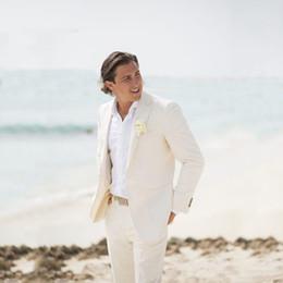 2019 costumi da sposa per uomini avorio Summer Beach Ivory Linen Slim Fit Casual Prom Abiti da uomo su misura Abiti da sposa Tuxedo 2 Pezzi Costume da sposo Wedding costumi da sposa per uomini avorio economici