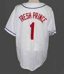 fresh shirts Promo Codes - WEST PHILLY FRESH PRINCE BASEBALL JERSEY 1 FULL EMBROIDERY Mens Stitched Jerseys Shirts Size S-XXXL Free Shipping