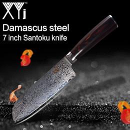 Wholesale XYj handgemachte Damastmesser Beauty Pattern Schichten VG10 Damaststahl Zoll Santoku Messer Farbe Holzgriff Küchenmesser