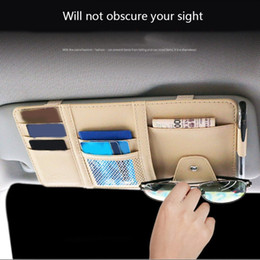 многофункциональная визитная карточка Скидка Многофункциональный автомобиль очки клип солнцезащитный козырек CD ящик для хранения держатель PU клип визитница