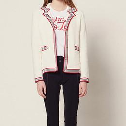 Jaqueta de marinheiro on-line-2019 Primavera-Verão Single-Breasted Sailor Contrast Collar A814 Cor Cardigan Lady camisola de malha Brasão Jacket