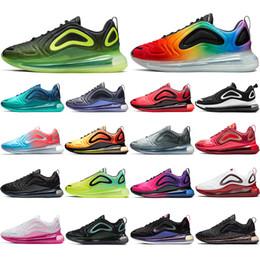 almofada de ginástica Desconto Nike air max 720 Com meias 2019 Top quality Air Almofada Sneaker respirável tênis de corrida TRIPLE PRETO Noen Sunset Gym Vermelho Volt Rosa Rise mens formadores 36-45