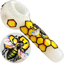 2019 venta al por mayor mini botellas de vino tinto Hermosa Tubos de panal de abeja de cristal 3D fumadores Dogo de cristal cuchara Tuberías para Pipas Pipas de tabaco para el envío de tuberías de vidrio gratuito
