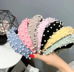 diy fita rosa headband Desconto Pérola atada headband tecido cor sólida acessórios para o cabelo pérola completa arco cabeça doce fivela acessórios para o cabelo