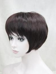 Parrucca borgogna miscela online-WIG NEW STYLE Spedizione gratuita New Fashion Black Burgundy misto breve rettilineo parrucca naturale delle donne