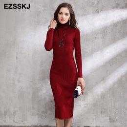 fafb347684 2018 otoño invierno mujer suéter vestido de cuello alto de punto sexy  bodycon oficina de manga larga vestido largo cálido maxi vestido rojo básico