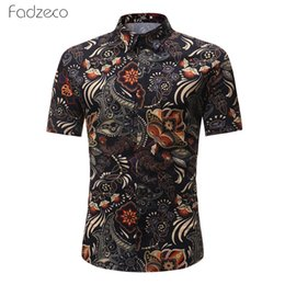 african print men designs Coupons - Fadzeco African Ethnic Print Button Short Sleeve Male Shirt Big Size Dashiki Fashion Design Lapel T-shirt African Shirt For Men