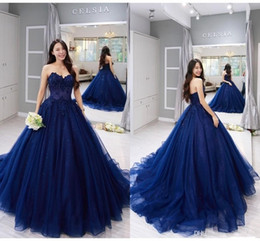 blue gold quinceanera dresses Promo Codes - 2019 New Strapless Ball Gown Prom Quinceanera Dress Vintage Navy Blue Lace Applique Ball Gown Formal Sweet 15 Party Dresses