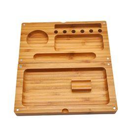 Casos de fumar on-line-Bambu Multifuncional Tabaco Rolando Tabuleiro 249 MM * 242 MM Backflip Bambu Magnético Rolling Tray Fumar Herb Grinder Storage Case Por DIY