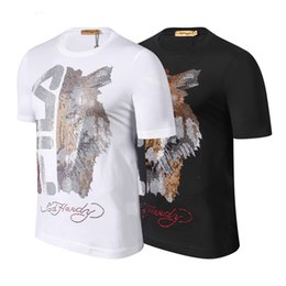 Canada T-shirt brodé incrusté de diamants avec des animaux de marque Philip cheap t shirt embroidered animals Offre