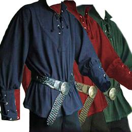 2019 одежда для ренессанса Мужская Мужская Одежда Рыцарь Рубашка Средневековый Ренессанс Узелок Свободный Рыцарь Костюм С Длинным Рукавом Твердые Взрослые Мужчины Косплей Рубашка скидка одежда для ренессанса