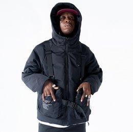 Mann Winter abnehmbare Tasche starke mit Kapuze Fracht Jacke Male Street Fashion Hip Hop lose Baumwolle gefütterte Parkas Mantel Oberbekleidung