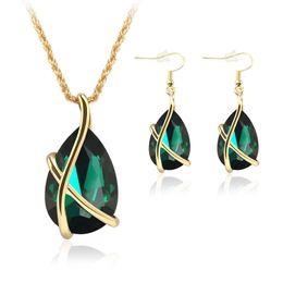 Gotas de oreja de diamante online-Diamond Crystal Drop Collar Pendientes Conjuntos de joyería Gold Cage Ear Cuff Cadenas pendientes Joyería de la boda Regalo para las mujeres -P