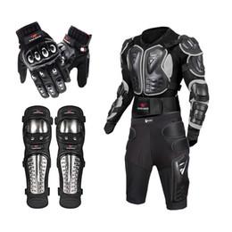 2019 ginocchiere per armature WOSAWE Off Road Giacca da motociclista in lega di acciaio inox da corsa equipaggiamento protettivo giacca da moto + pantaloncini pantaloni + ginocchiere + guanti