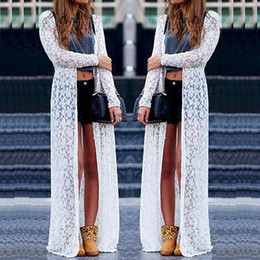 black friday dresses Promo Codes - Black Friday Deals Women Ladies Summer Long Sleeve Beach Lace Cardigan Blouse Long Tops Dress