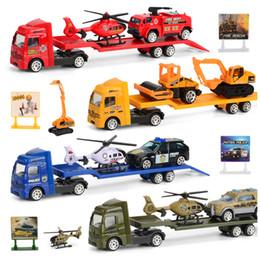 2019 reboques para trailers 1: 64 Reboque Flatbed Caminhões Reboque Da Liga de Brinquedo Engenharia Escavadeira Carregador de Caminhão Modelo de Carro Brinquedos Para Meninos Presente Das Crianças reboques para trailers barato