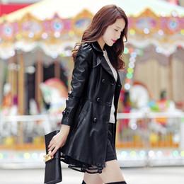 2019 roter langer lederner graben New Plus Size 5XL Lederjacken Fashion Black Lace Rock Mäntel Medium Long Slim Damen Blazer Trench Red Elegant Coat f1324 günstig roter langer lederner graben