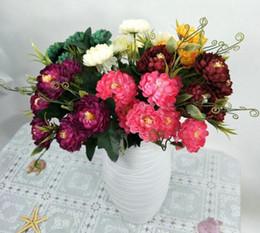 chrysantheme blumenstraußhochzeit Rabatt Simulation 7 kopf Daisy Flower Silk Künstliche Chrysantheme Blumen DIY Bouquet Home Hochzeit Flores Büro Party Dekoration GB342